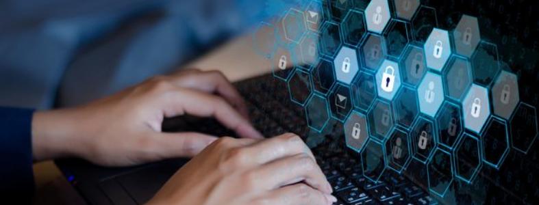 cybersecurity illustration on laptop