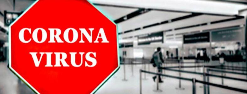 Coronavirus stop sign in airport