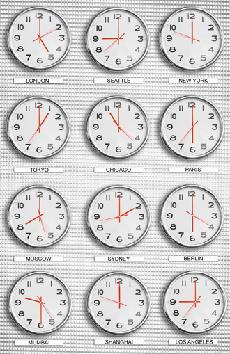 time zones clocks on wall with different times